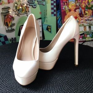 Charlotte Russe White Faux Leather Pumps